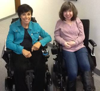Kate Garrison of Collin County Democrats with Disabilities and Julie Espinoza at REACH of Plano