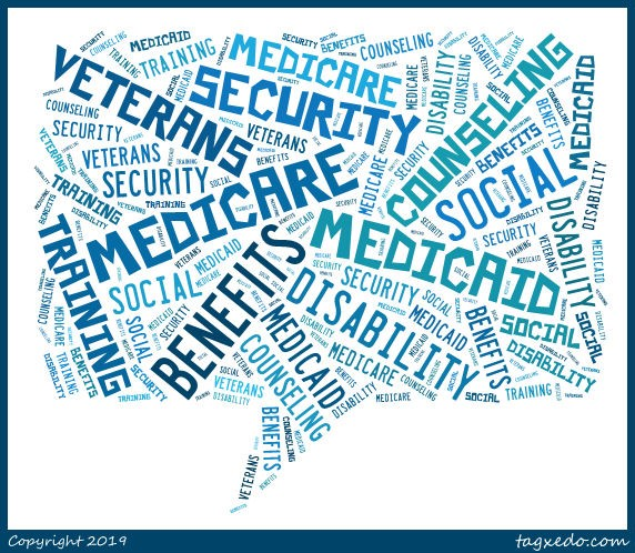 medicare, medicaid, social security, veterans picture