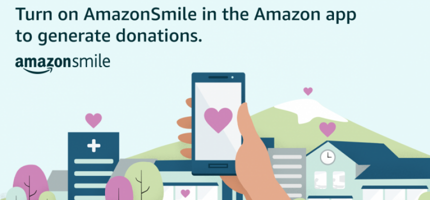 android and iphone app for smile.amazon cellphones held up with  heart, purchases supports REACH